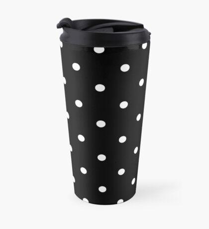 Polka Dots - Black and White Taza de viaje