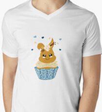 niedlicher Häschen Cupcake T-Shirt mit V-Ausschnitt für Männer