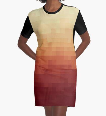 Gradient Red Fire Pixels Vestido camiseta