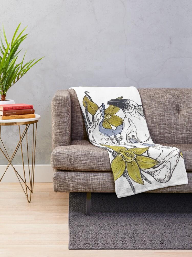 Alternate view of MorbidiTea -  Vanilla Pu-erh with a Porcupine Skull Throw Blanket