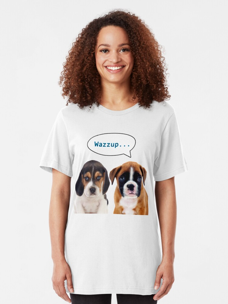 Alternate view of Two cute dogs staring at you Slim Fit T-Shirt