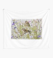 Goldfinches Feeding Wall Tapestry