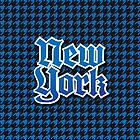 Houndstooth Blue and Black New York City by Map-Your-World