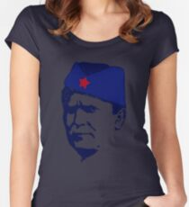Tito Josip Broz yugoslavia  -  portrait red star  Women's Fitted Scoop T-Shirt