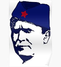 Tito Josip Broz yugoslavia  -  portrait red star  Poster