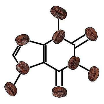Caffeine Molecule with Coffee Beans by SirLeeTees