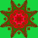 Red and Green,  Apophysis Kaleidoscope..Lady Bug Peek by MaeBelle