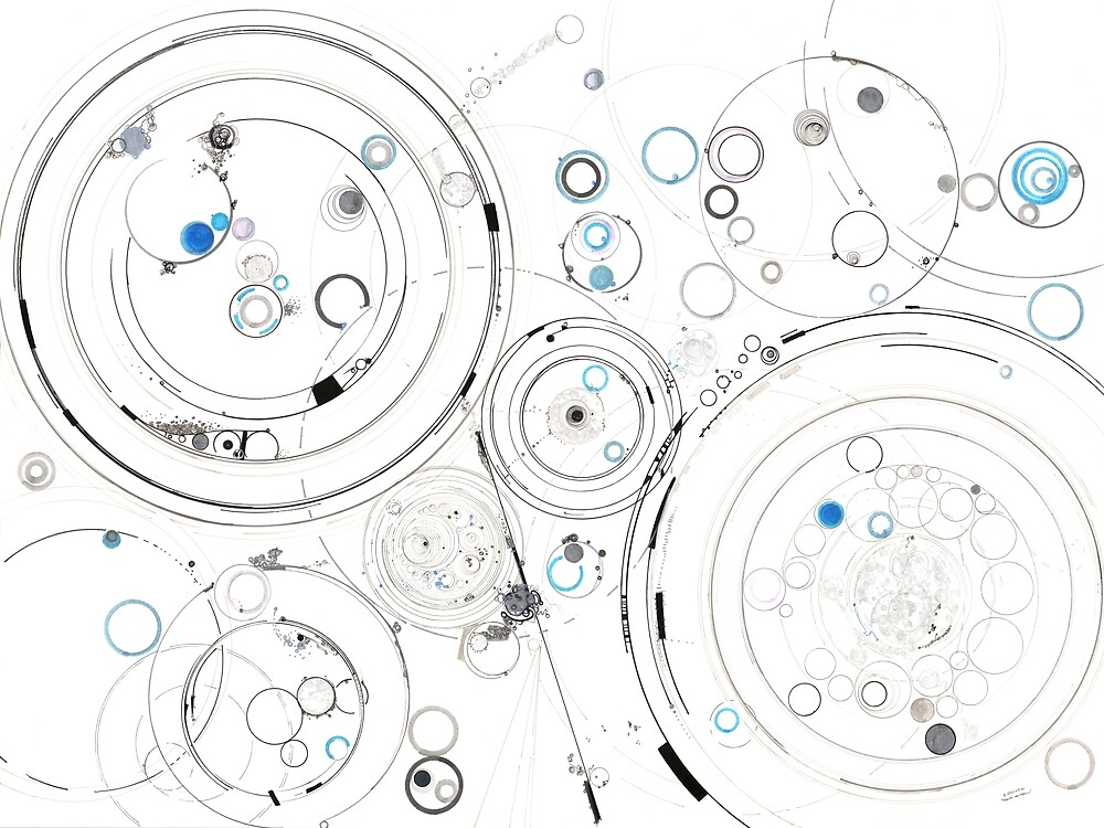Orbital Mechanics - ink and silverpoint by Regina Valluzzi