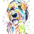 Goldendoodle - Colorful Watercolor Pet Portrait Painting by Lisa Whitehouse