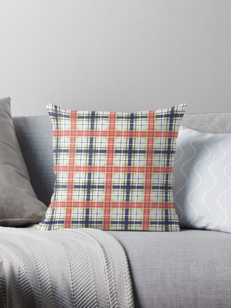 \'Plaid, coral and blue\' Throw Pillow by fuzzyfox