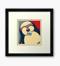 Linux Tux Obama poster red blue  Framed Print