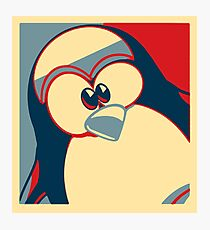 Linux Tux Obama poster red blue  Photographic Print