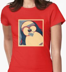 Linux Tux Obama poster red blue  Women's Fitted T-Shirt