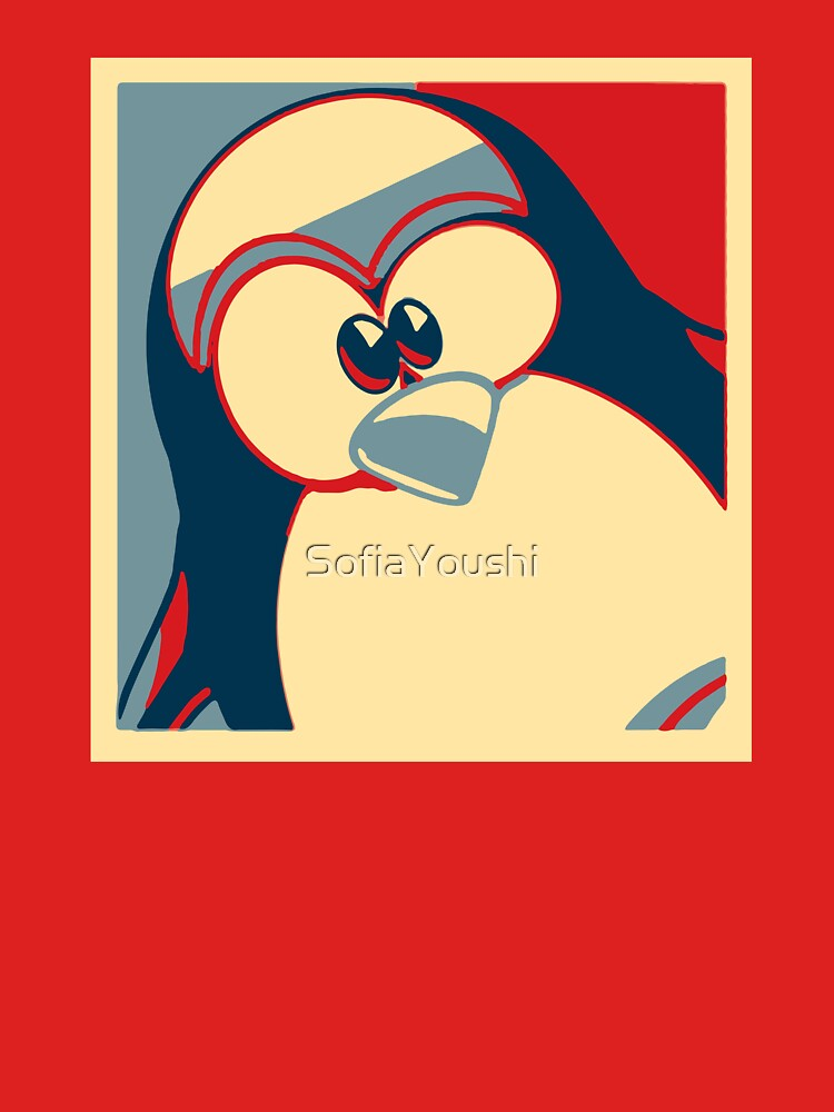 Linux Tux Obama poster red blue  by SofiaYoushi
