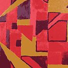 Abstract Composition in Red and Gold - Modern 90's Style by waygeek