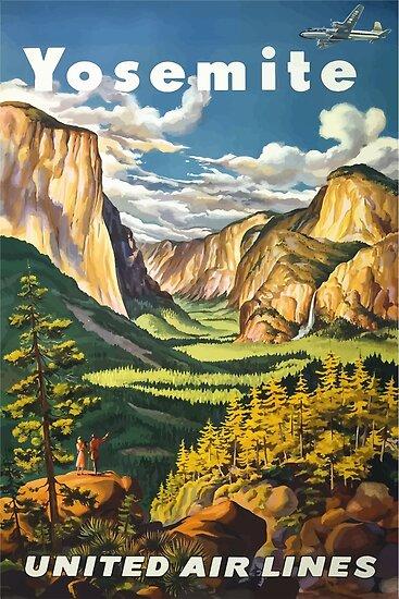 Yosemite United Air Lines Vintages Reise-Plakat von vintagetravel