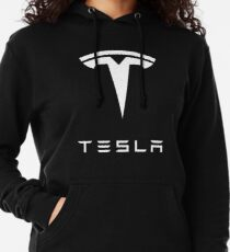 Official Tesla White Logo  Lightweight Hoodie