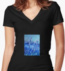 Lavender Field Abstract Women's Fitted V-Neck T-Shirt