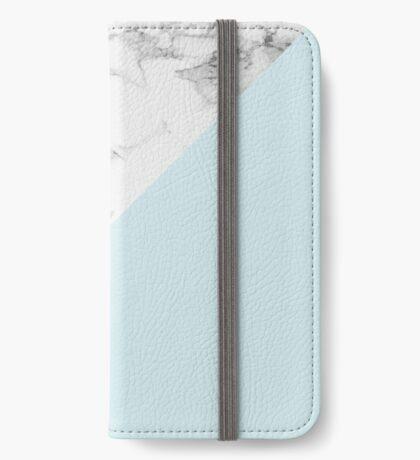 Marble + Blue Pastel Color. Geometría clásica. Funda tarjetero para iPhone