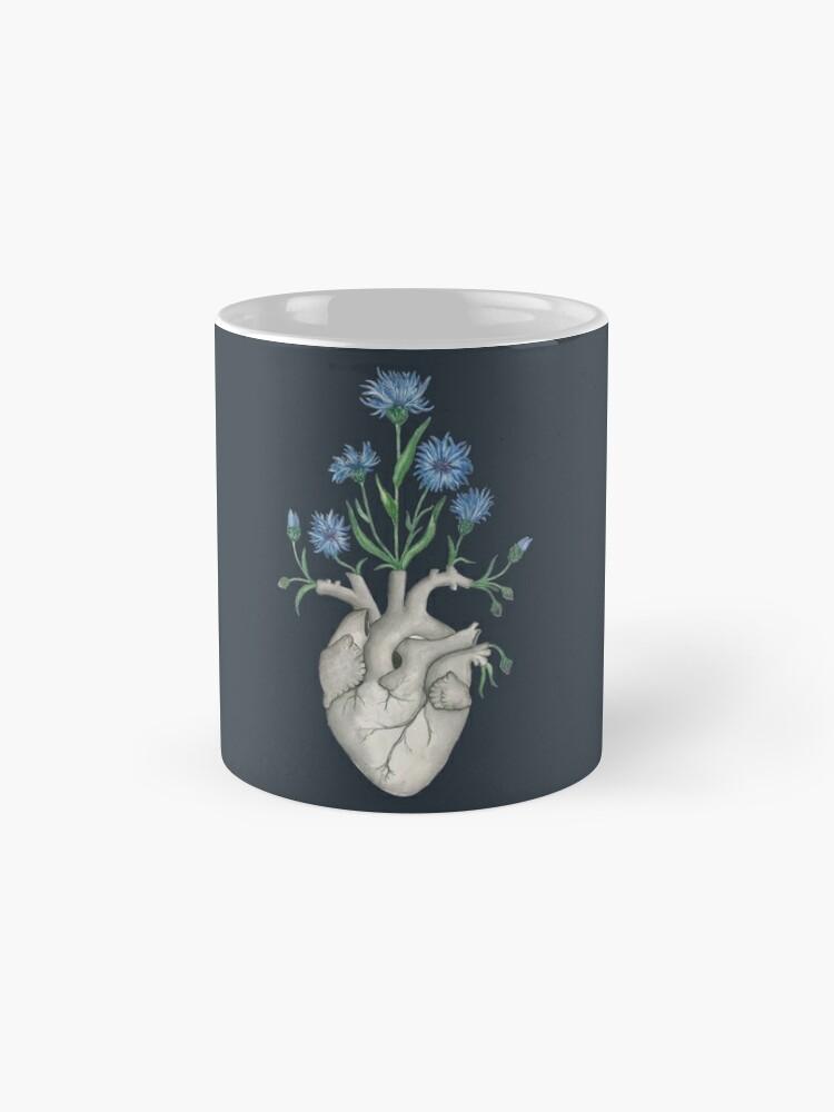 Alternate view of Floral Heart: Human Anatomy Cornflower Flower Halloween Gift Mug