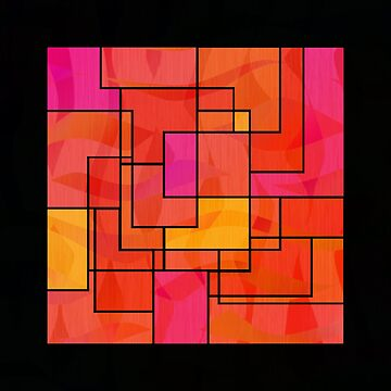 Hot Pink and Orange 1960s Style Geometric Mosaic by jocelynsart