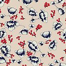 Navy floral with red berries Chinese inspired print by SandAndChi
