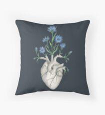 Floral Heart: Human Anatomy Cornflower Flower Halloween Gift Throw Pillow