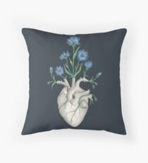 Floral Heart: Human Anatomy Cornflower Mothers Day Gift Throw Pillow