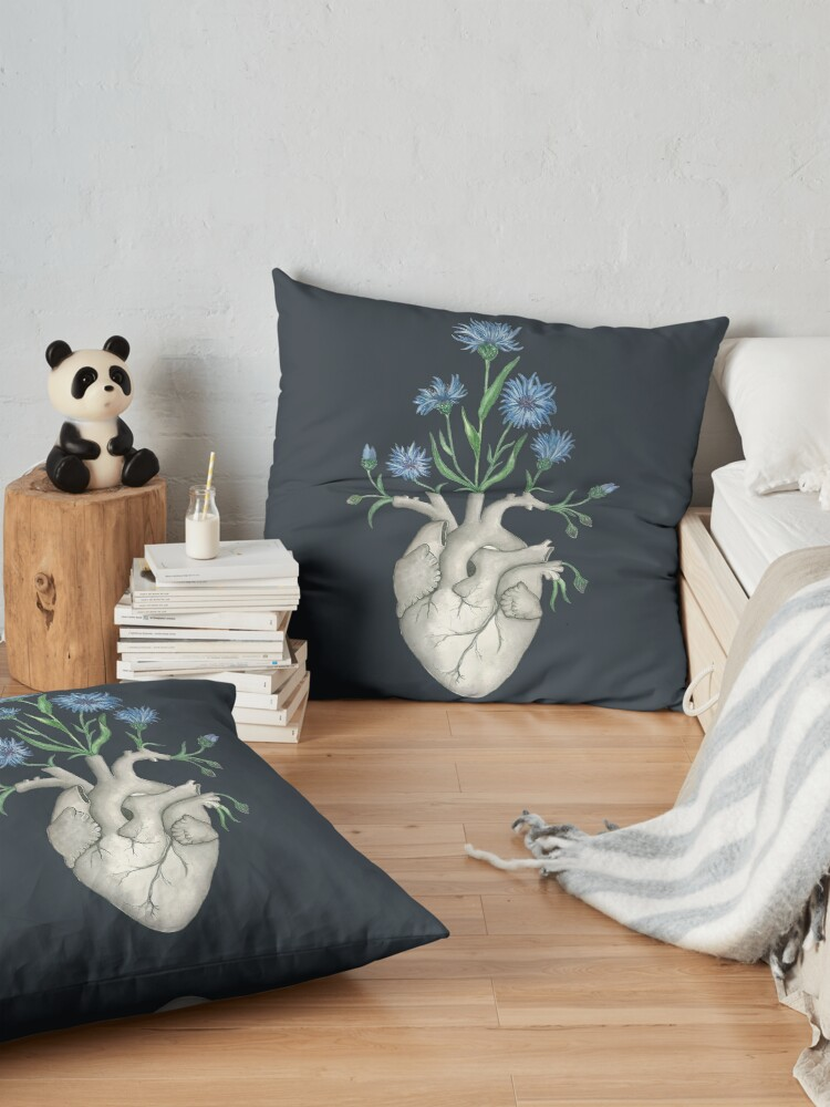 Alternate view of Floral Heart: Human Anatomy Cornflower Flower Halloween Gift Floor Pillow