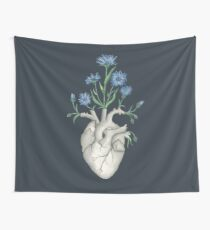 Floral Heart: Human Anatomy Cornflower Mothers Day Gift Wall Tapestry