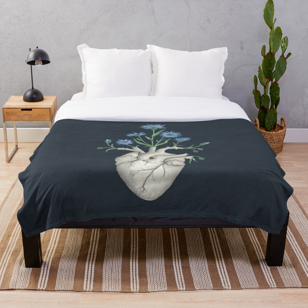 Floral Heart: Human Anatomy Cornflower Flower Halloween Gift Throw Blanket