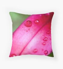 Pink Lily Petal And Droplets Macro Photo  Throw Pillow