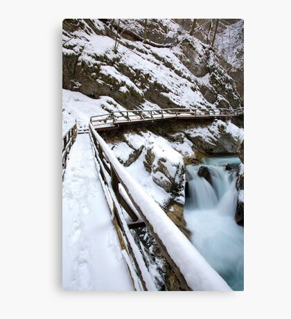 Winter dawn in Vintgar Gorge Canvas Print
