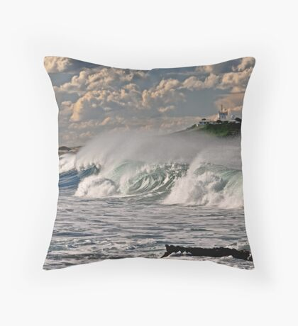 Nobby's Lighthouse, Storm Surf Throw Pillow