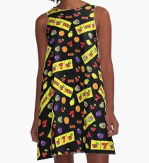 Casino Lucky Slot Machine Cherry Melon Lemon Fruits Pattern A-Line Dress