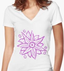 Purple Wood Block Print Flowers Women's Fitted V-Neck T-Shirt