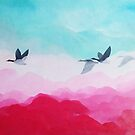 Geese in pink sky by ColorsHappiness