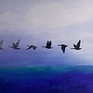 Geese, Blue. Handpainted acrylic on cotton by ColorsHappiness