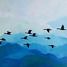 Geese in blue sky by ColorsHappiness