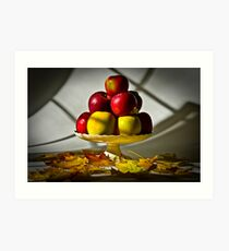 Fruit bowl with autumn leaves - Print Art Print