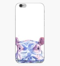 Happy Hippo Watercolor Painting iPhone Case