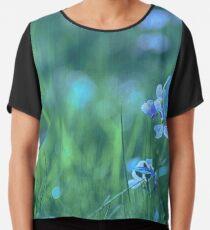 Blue Spring Flowers Chiffon Top