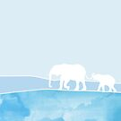 Elephant mother and baby. Perfect illustrationon a gift for a babyshower, boy or girl by ColorsHappiness