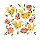 Gelbe Chirpy Birds von Jacqueline Hurd