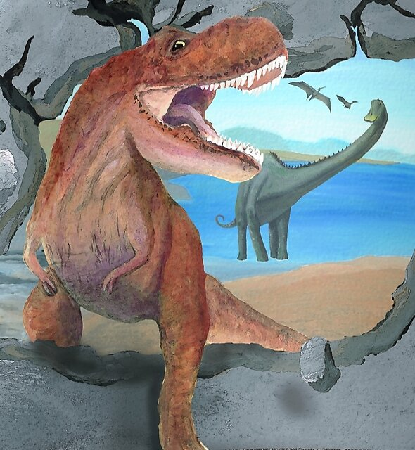Prehistoric Dinosaur T-rex Enters the 21st Century by Melissa J Barrett