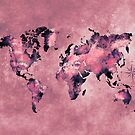 world map coral pink #map #world by JBJart