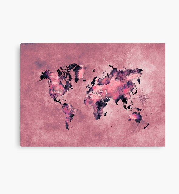 world map coral pink #map #world by JBJart