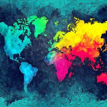 world map colors #map #world by JBJart