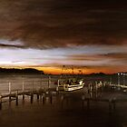 Batemans Bay - Behind the boatshed - waterscape - skyscape - brown  (ED01) by Elisabeth Dubois