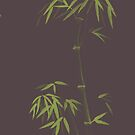 Earthy asian style illustration of a green bamboo stalk with bushy leaves on earthy brown art print by AwenArtPrints